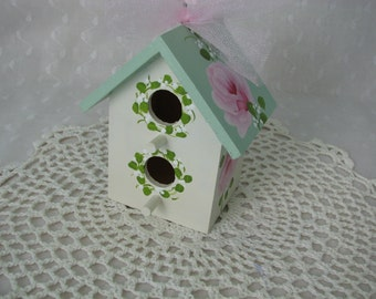 Birdhouse Ornament Green Ivory Hand Painted Pink Roses