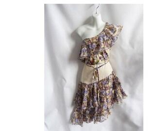 Vintage 70s Dress Size S One Shoulder Cream Butterfly Hippie Boho Disco Prairie