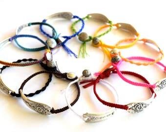 Silverware Friendship Bracelet Spoon End Jewelry Colorful Springtime Bracelet Wearable Flatware Hand Woven Best Friend Gift Teacher Gift