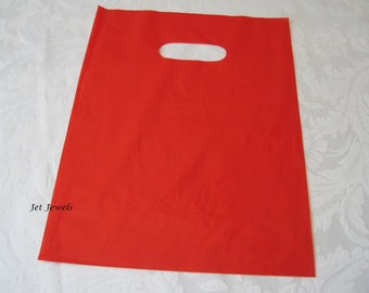 50 Red Plastic Bags, Glossy Bags, Party Favor Bags, Shopping Bags, Gift Bags, Merchandise Bags, Retail Bags, Bags with Handles 9x12