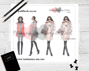 Planner Stickers Deco Doll Sheet Fur Coat Girl Boss College Student