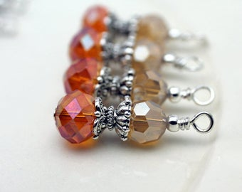 Antiqued Orange AB Rondelle Crystal with Frosted Golden Round Crystal Bead Dangle Drop Set