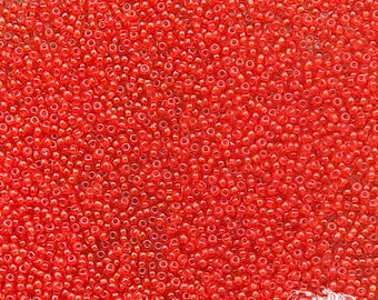 Size 20/0 Antique Micro Seed Beads - Transparent Watermelon Red - Tiny & Collectible Size 20 Vintage Glass Beads for Purses, Restoration
