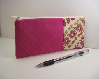 Cosmetic Bag, Pencil Case, Zipper Pouch, Coin Purse, Purse Organizer - Pink
