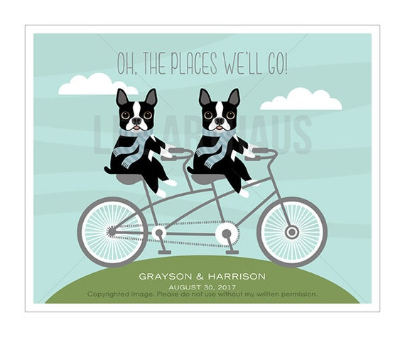 203P Twins Art - Oh The Places We'll Go Personalized Boston Terrier Dogs Wall Art - Twin Nursery Art - Tandem Bicycle - Personalized Decor