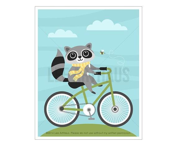 49A Raccoon Print - Raccoon on Bicycle Wall Art - Raccoon Wall Art - Bicycle Print - Raccoon Drawing - Woodland Nursery Wall Art - Bike Art