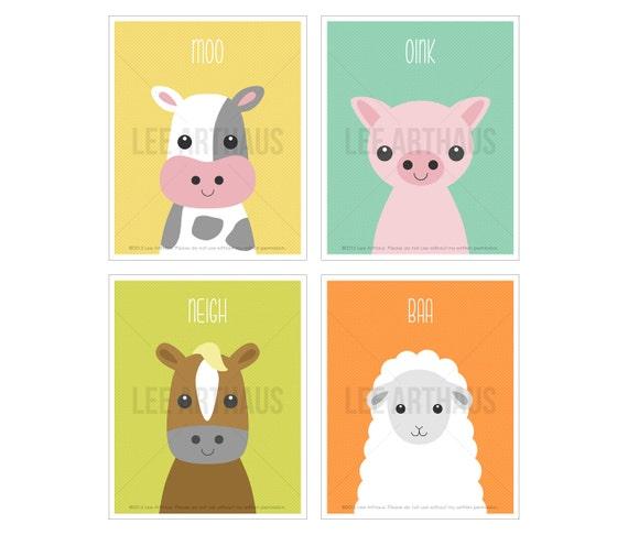 6S Farm Nursery Print Set - Set of 4 Prints - Farm Animal Prints - Farm Animals Nursery - Cow Print - Pig Decor - Horse Art - Sheep Art