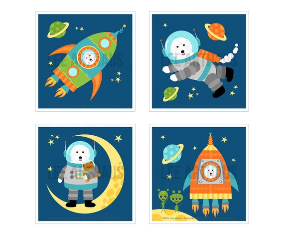 11S Dog Art Print - White Labradoodle in Space Print Set - Set of 4 Prints - Space Nursery Wall Art - Astronaut Print - Dog Decor - Kids Art