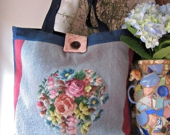 Handbag Purse Tote Vintage Needlepoint Denim Large