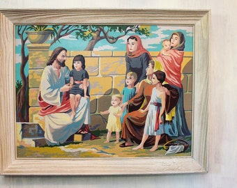 large framed paint by number - Jesus and the Children original acrylic painting