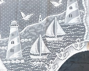 vintage curtain panels - white lace valance - cafe curtain - window coverings - nautical beach