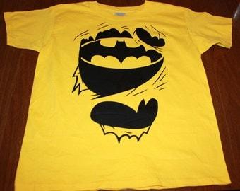 Youth T Shirt - Super Hero - Bat T-Shirt - Yellow Top