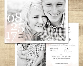 photo wedding invitation, lds wedding invitation, custom wedding invitation, typography wedding invitation and insert - happily ever after