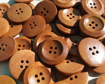 """Round Wood Buttons - Sewing Bulk Wooden Button - 1"""" Wide - Lighter Color"""