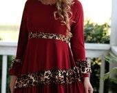 LillyAnnaLadiesApparel NOELLE Cranberry Leopard Shirt Lala Modest