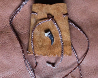 Recycled leather necklace pouch with real coyote claw for crystals, herbs, fetiches, medicine, and other small sacred objects