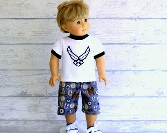 18 inch Boy Doll Fighter Pilot Tee Shirt with Board Shorts, American Boy Doll Summer Outfit