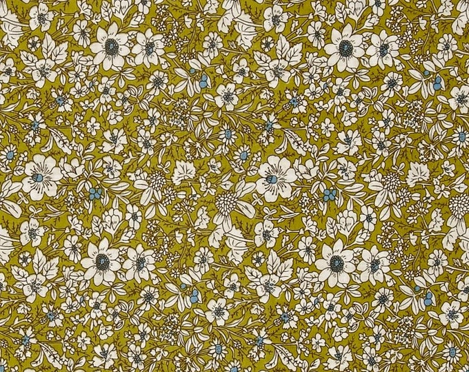 Hampton Court Dainty Floral in Chartreuse by Telio - Cotton Shirting  Fabric