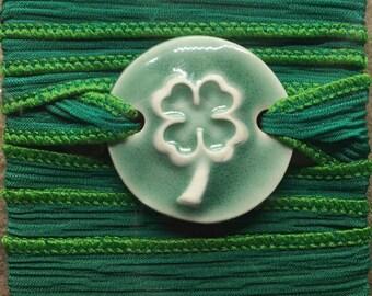 Dark Green Shamrock Silk Ribbon Bracelet