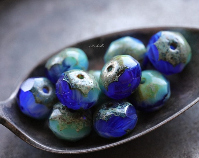 sale .. SUMMER SKIES No. 3 .. 10 Premium Czech Picasso Rondelle Glass Beads 6x8-9mm (5486-10)