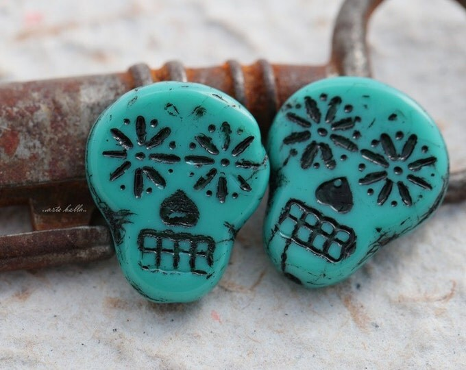 BLACK TEAL SKULLS .. 2 Picasso Czech Sugar Skull Beads 20x17mm (5523-2)