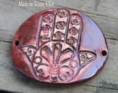 Pottery Cuff Bead, The Elli with a HAMSA