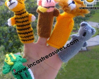 Hand-Knit Finger Puppet wild animals Special Free Shipping Worldwide
