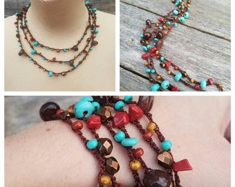 Versatile Long Necklace Wrap Bracelet Beaded Necklace Crochet Necklace Glass Bead Necklace Teal Copper Red Brown Turquoise READY TO SHIP