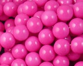 Glass Bead 41 Round 10mm Glossy Environmental Pink Dyed Baked Opaque Paint Strand (1038gla10m1-26)