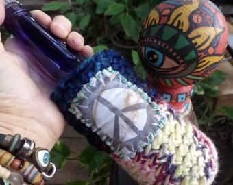 Hippie Festival, beer cooler, can cooler, bottle cooler, Beer cozy, Cheers, D34, Hippie peace, hippie crochet, boho beer, crochet beer