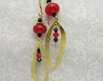 Lampwork Earrings Red and Black Earrings Glass Bead Earrings Dangle Drop Earrings With Gold Stardust Wavy Leaf Pendant SRAJD USA Handmade