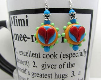 Lampwork Red Heart Earrings Lampwork Artisan Earrings Mothers Day Gift Orange Blue Red Lime Green Funky Bumpy Dots Heart Earrings SRAJD