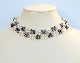 Black and white pearl collar Real pearls choker necklace Checkered pearls choker Beadwoven collar necklace with white and black pearls N417
