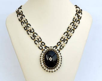 Royal black and white necklace Classic necklace with black onyx Black onyx and real pearls necklace Victorian beadwork necklace N652