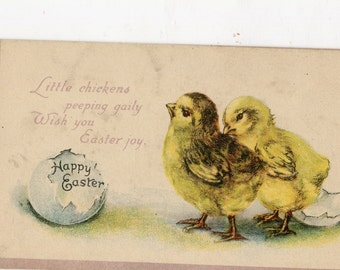 Easter  Postcard, chicks breaks free from shell vintage postcard