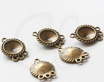 6 Pieces Antique Brass Tone Base Metal Charm-Rhinestone Settings With 3 Loops 25x18mm (36486Y-V-67)