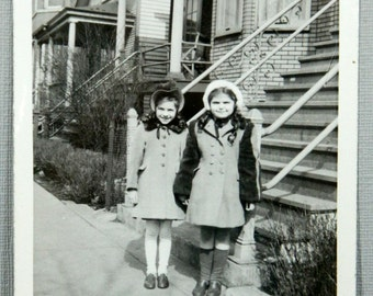 Two Cute Little Girls Coats, Hats, Knee Socks 1940's Vintage Snapshot Photograph 16244