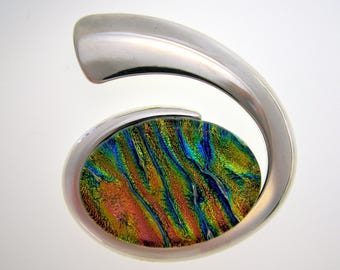 40mm x 30mm Handmade Multi-Colored Dichroic Oval Glass Set In Heavy Silver Plating Over Copper Swirl Pendant Hidden Bail