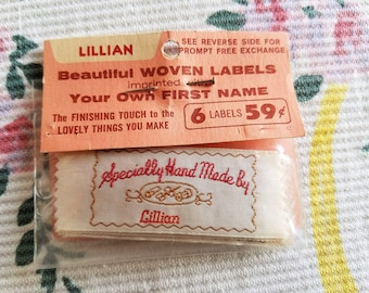Vintage Sewing Labels for LILLIAN, Personalized, Specially Made by, Set of 5 Labels, FREE Shipping