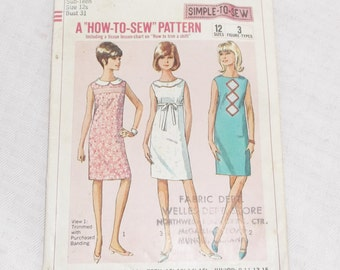 Vintage 1960s Sub Teen's Sleeveless Dress Pattern 31 Bust Simplicity 6370