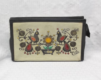 1960s Vintage Enid Collins Canvas Clutch Purse Money Tree