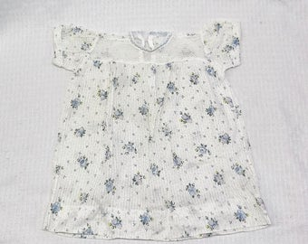 1960s Vintage Gauze Cotton Baby Dress with Blue Flower Print 3 to 4 Months