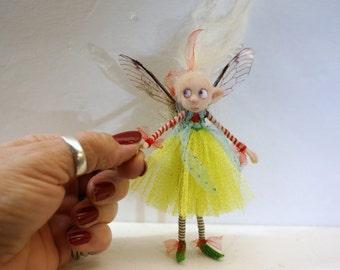 ooak poseable bright spring PIXIE fairy ( #20 ) polymer clay art doll by DinkyDarlings   faerie faery angel