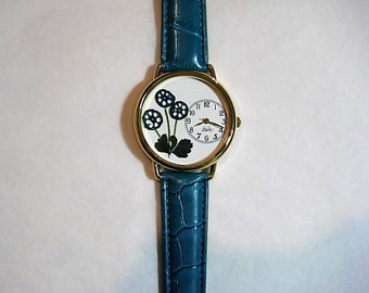 Pressed Flower Watch, Watch with Turquoise Water Lily Stems, Pressed Flowers, Watch For Women, Pressed Flower Watch, Turquoise Flowers Watch