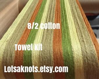 Striped Weaving Kit-Handmade-Handwoven-Weaving-Weaving loom kit-Craft Supplies-Cotton-4 towels-Yellow, green, orange stripes