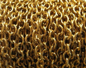 Etched 5x4mm Antique Gold Cable Chain from Nunn Design - 3 Feet