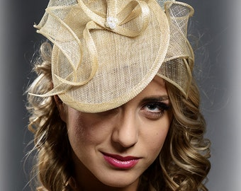 Champagne, beige fascinator hat for weddings, formal occasions, races- New fresh style for S/S 2017 events