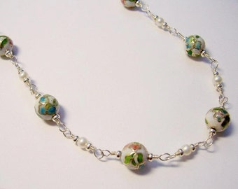 """Handcrafted 28"""" Necklace, Cloisonné  Beads, Pearls and Sterling Silver"""
