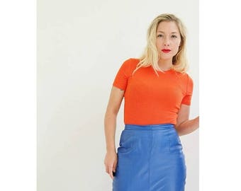 SPRING SALE 1990s Electric Blue Leather Skirt /// Size Small