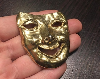 sale - gold tone face mask brooch